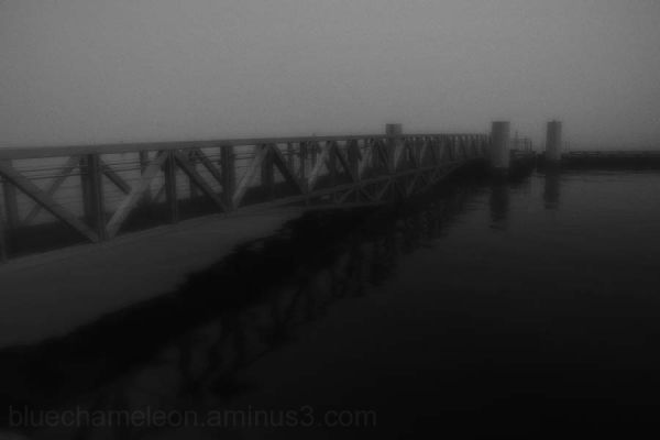 A pier and wharf in thick fog.
