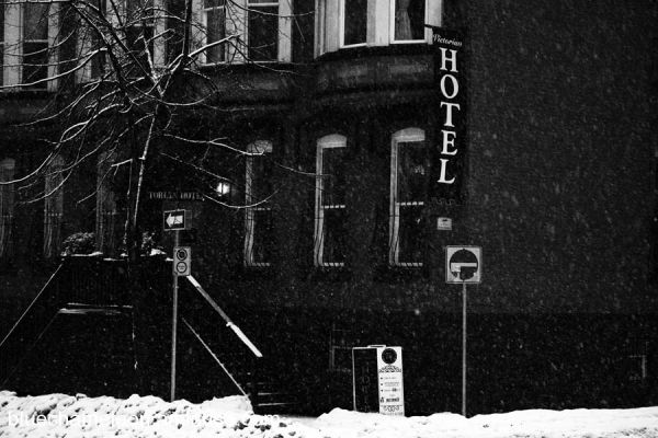 The Victorian Hotel in Vancouver in snow storm