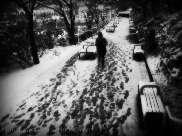 Man  walking in snow at train station
