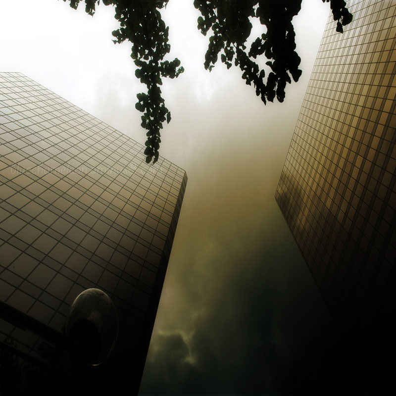 A storm between two skyscrapers