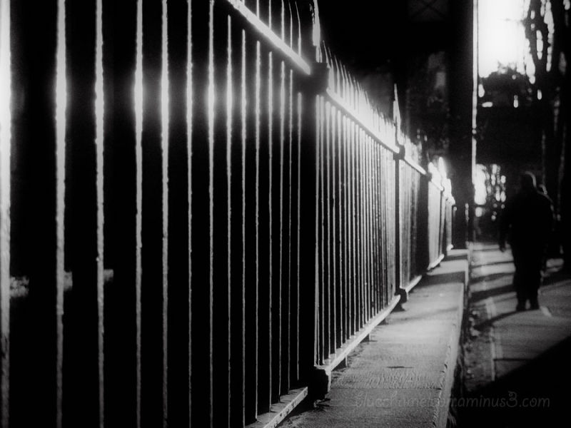 Glowing iron fence along sidewalk with man