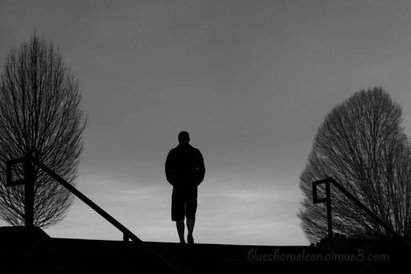 A silhouetted man at the top of stairs, trees