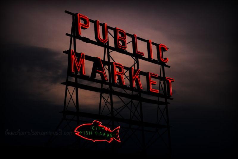 Neon sign of Pike Street Market in Seattle @ night