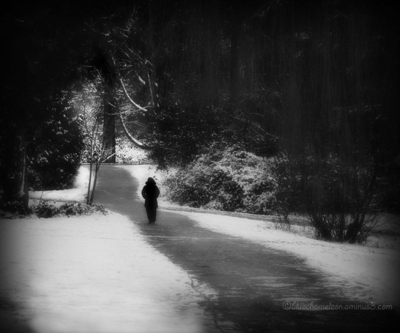A lone figure walking along snowy path