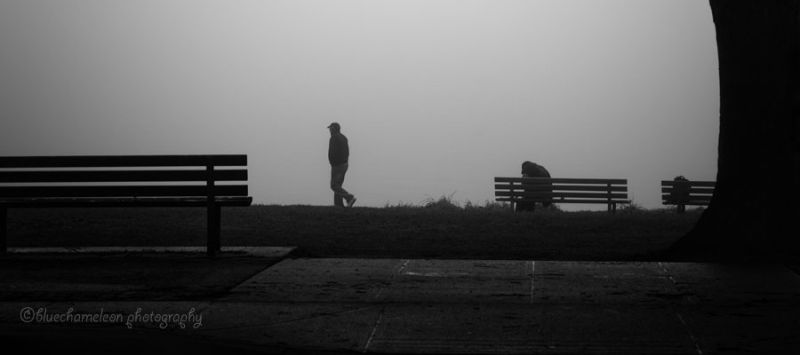 2 people, 3 park benches in fog