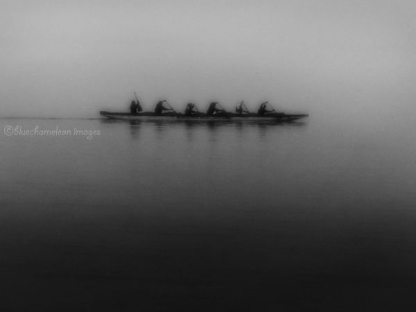 Men rowing a boat in the fog