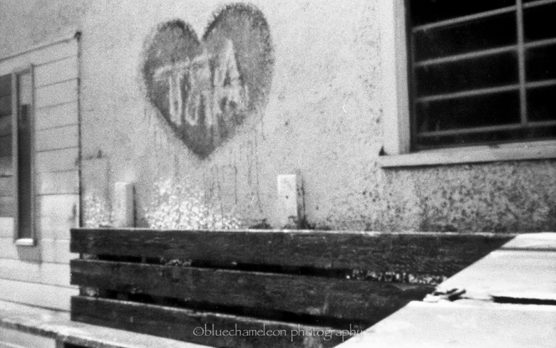 Spray painted heart on a school