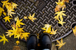 Boots a manhole cover and yellow leaves
