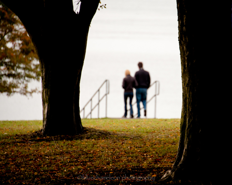A couple walking toward ocean through fall leaves