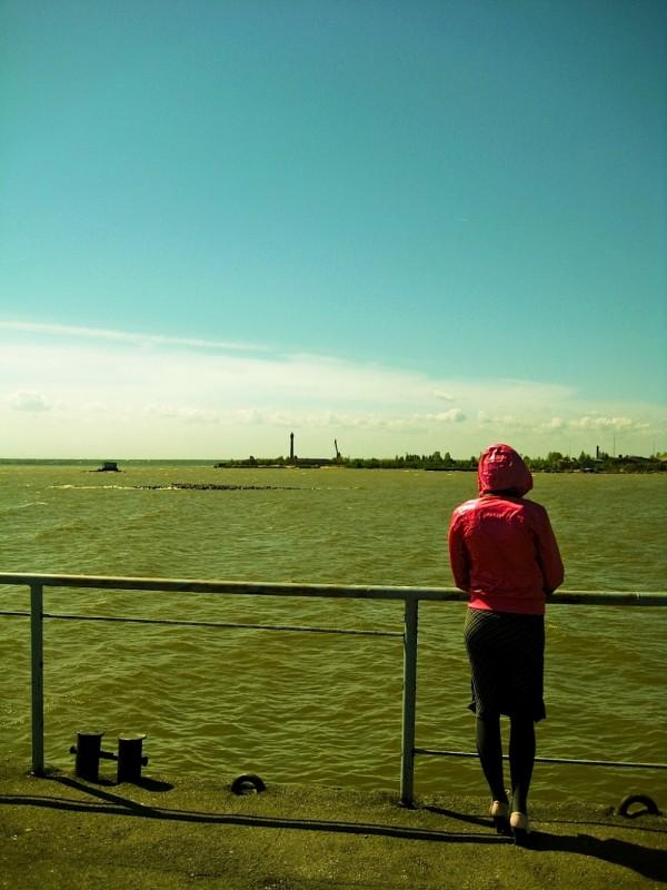 girl staying near the sea