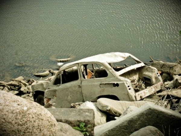 old car in water