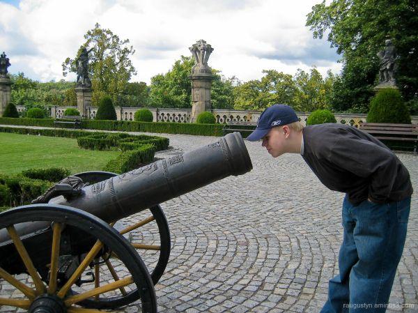 Boy looking inside cannon