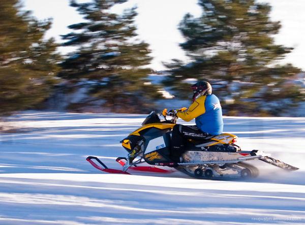 snowmobile racing through winter landscape