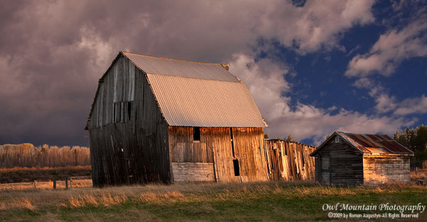 Old barn during sunset