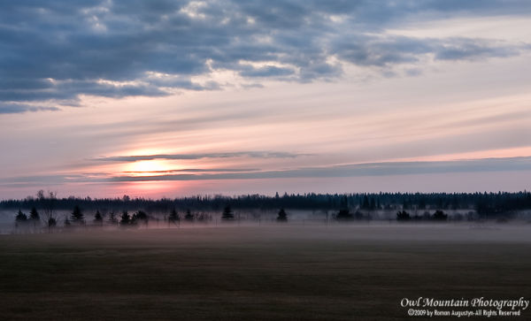 early morning sunrise with mist
