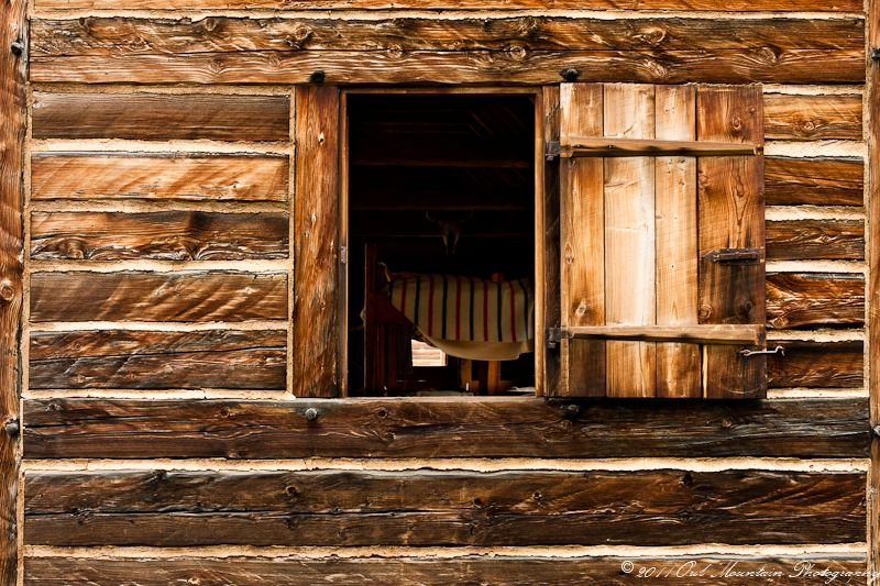 window in old log house