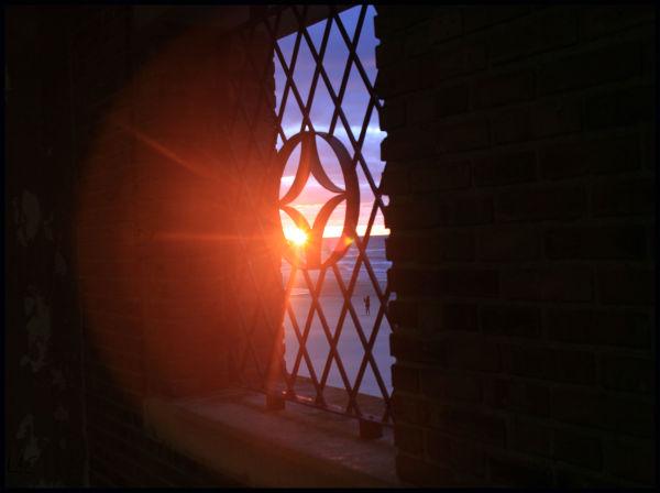 Sunset through the window