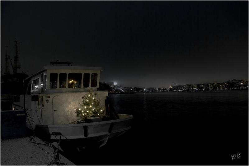 Julgran på båt