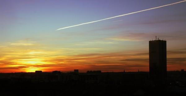 Coucher de soleil sur Bruxelles ville