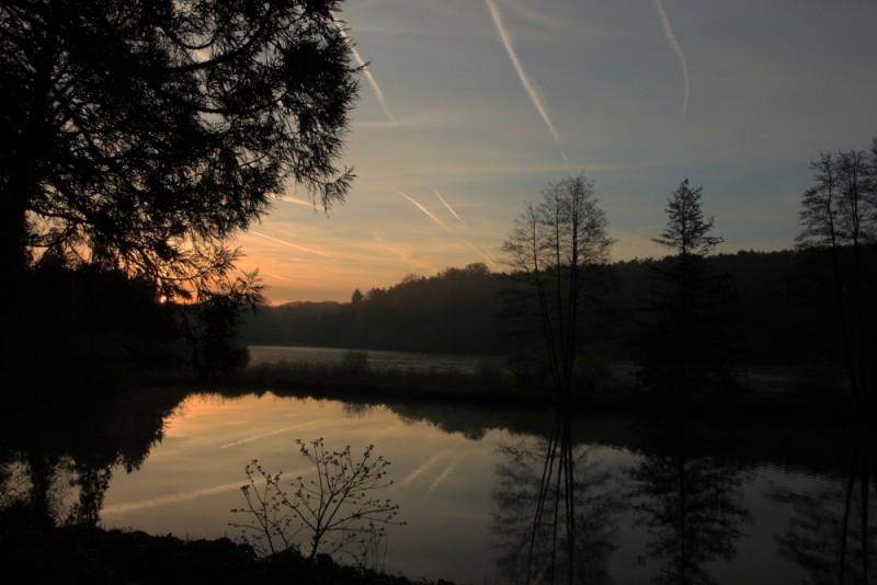 Lever de soleil au parc du chateau de la Hulpe