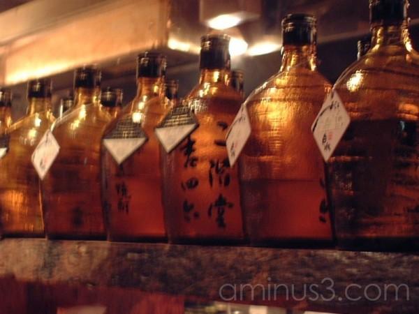 Reserved bottles in 居酒屋