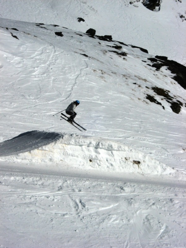 Anna on the small terrain park at The Remarkables