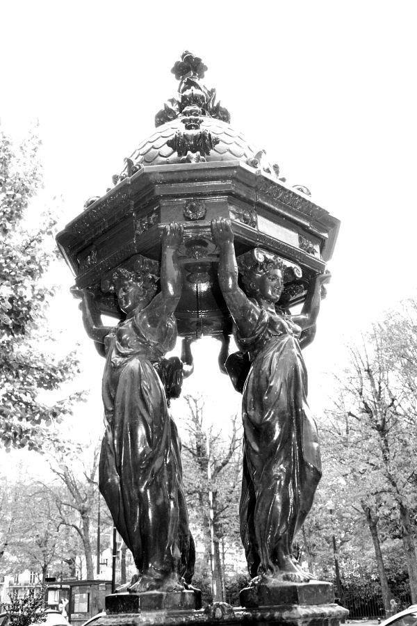 Metal statue fountain