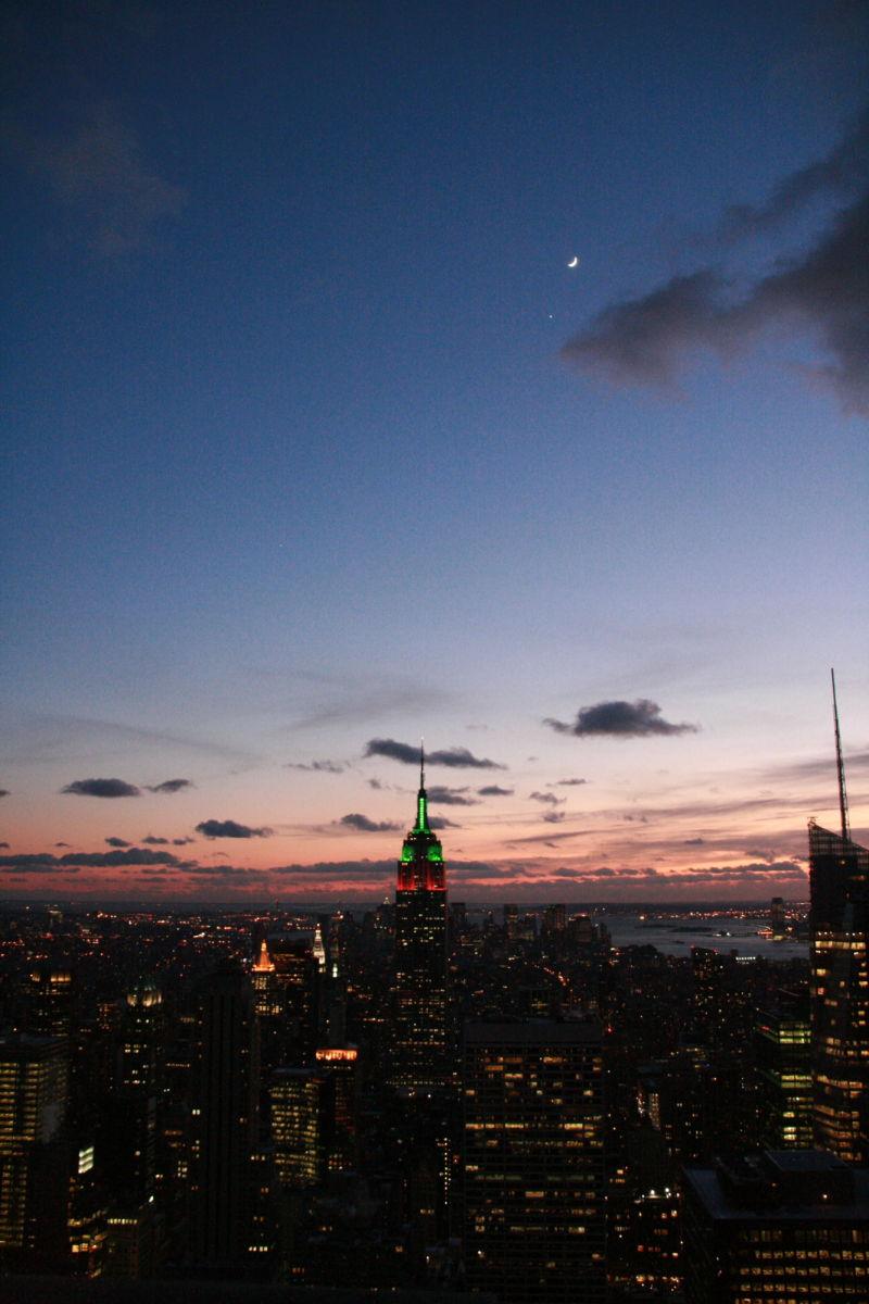 NYC, moon, sunset