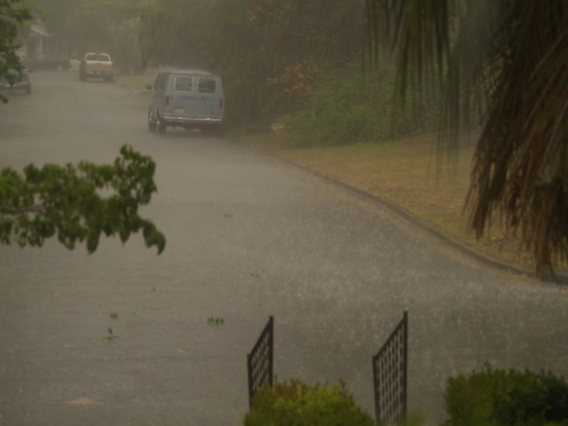 Wet street in the rain.