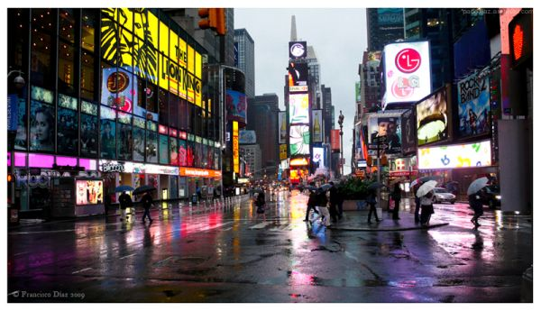 La lluvia en Times Square
