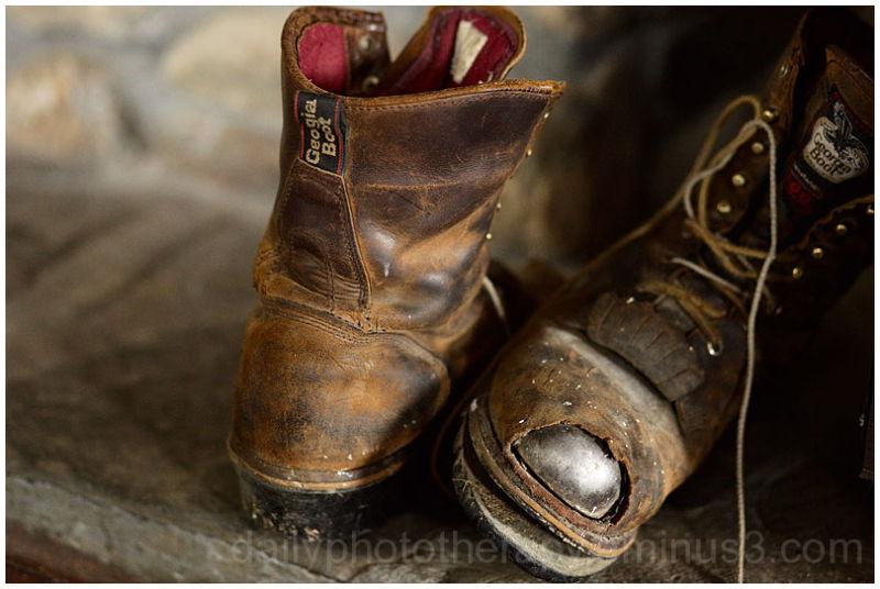 Work boots on Vermont Brick