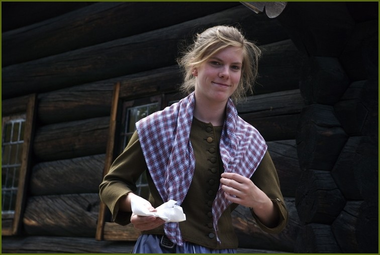 tradetional girl costom in Oslo Folk museum