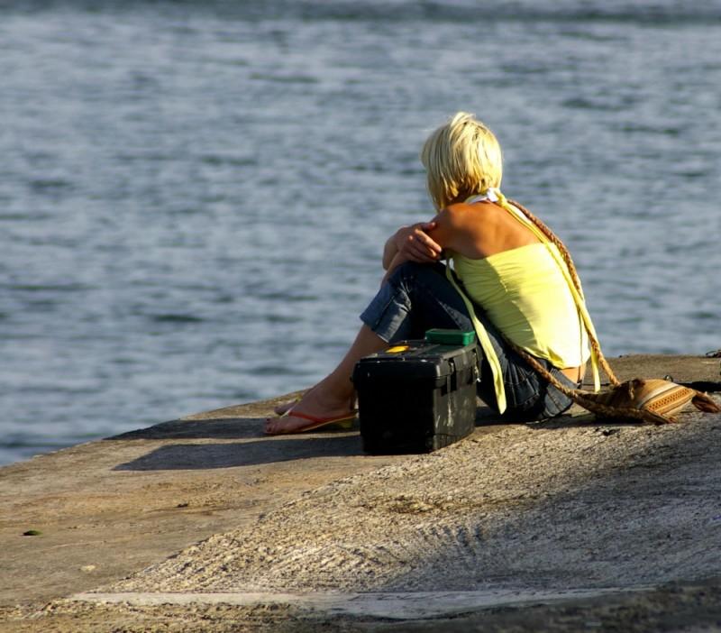 alone, people, pier