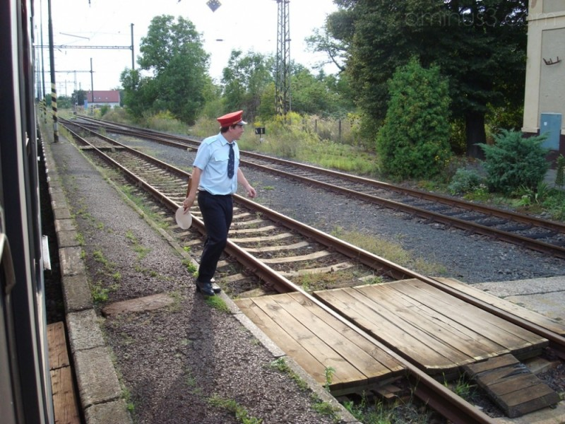 Train tracks in the Czech Republic railroad worker