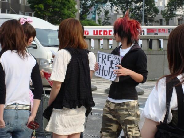 Free hugs in Harajuku.