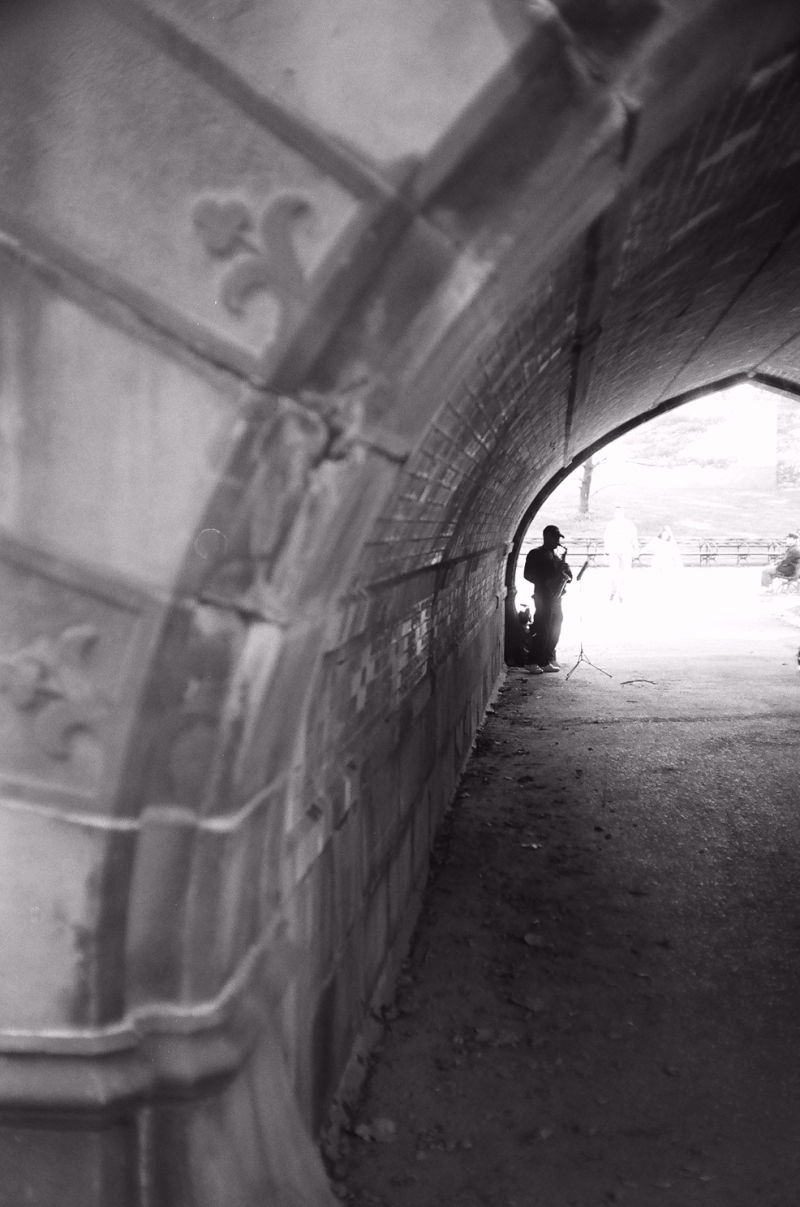 Saxophone Player Under a Bridge in Central Park