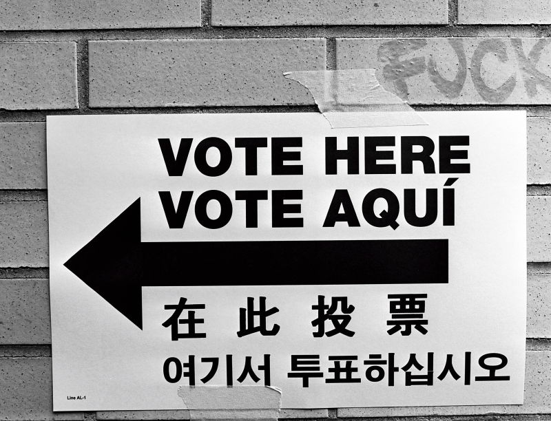 """Vote Here"" sign"