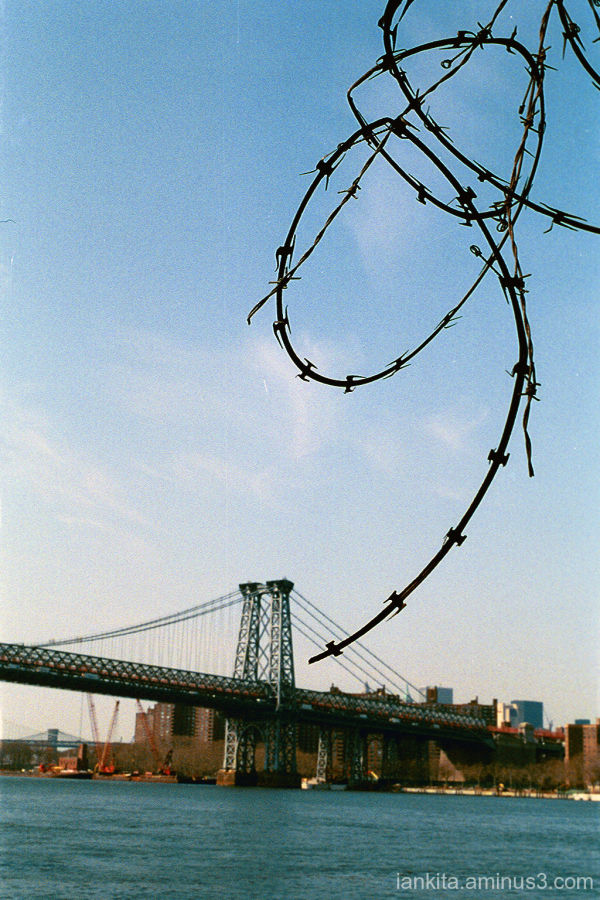 A view of the Williamsburg Bridge from Brooklyn