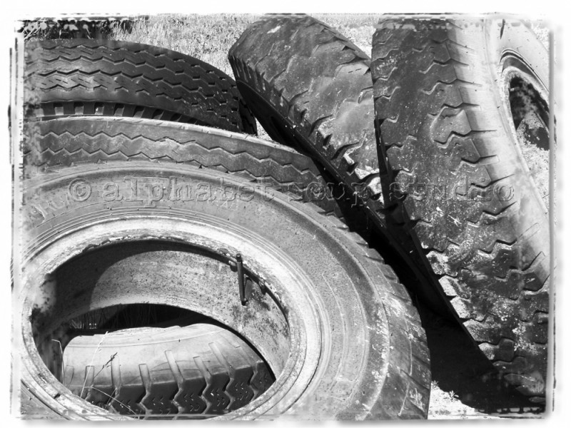 black and white tires