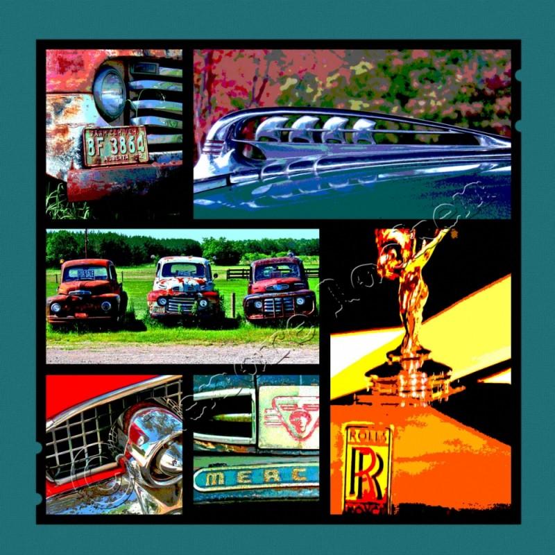 digital collage featuring automotive photographs
