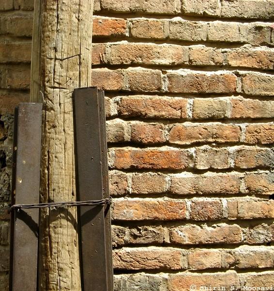 wall, bricks, lamppost, shirin moosavi