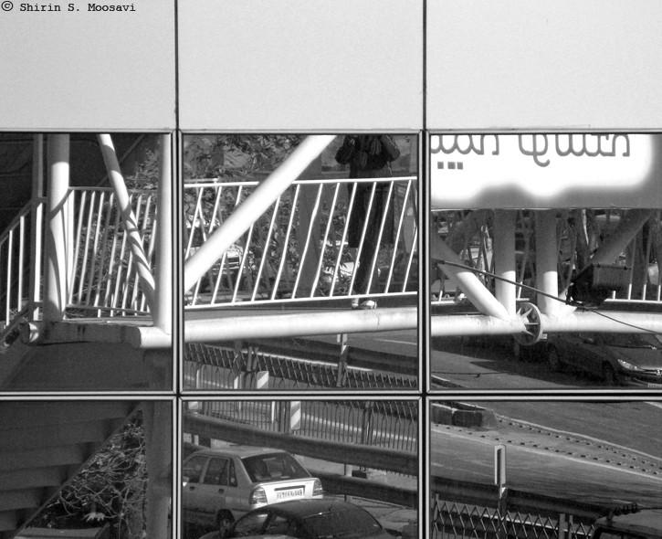 mirror, glass, footbridge, street, shirin moosavi