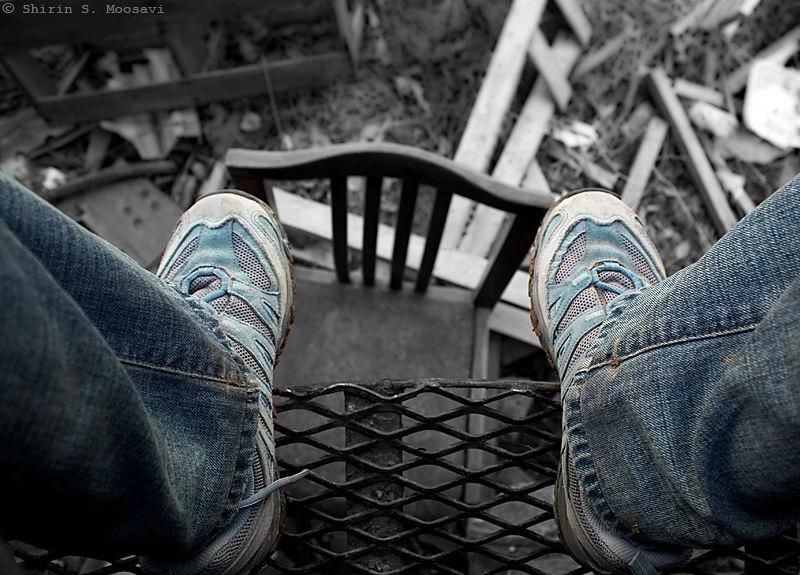 shoe, jeans, chair, Shirin Moosavi
