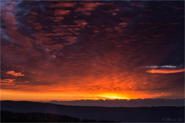 Lever du soleil à la Vue des Alpes (fin)