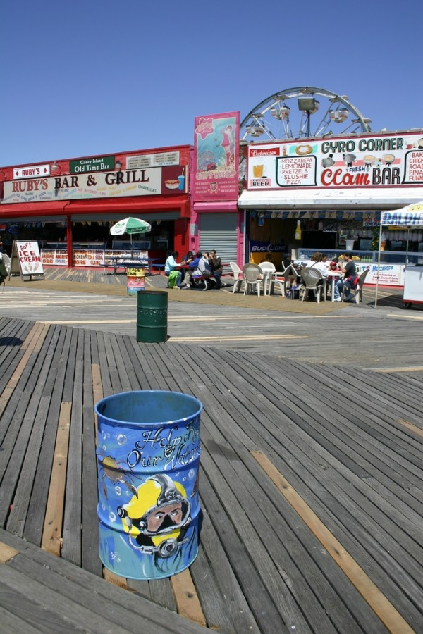 Coney Island boardwalk on a sunny May morning