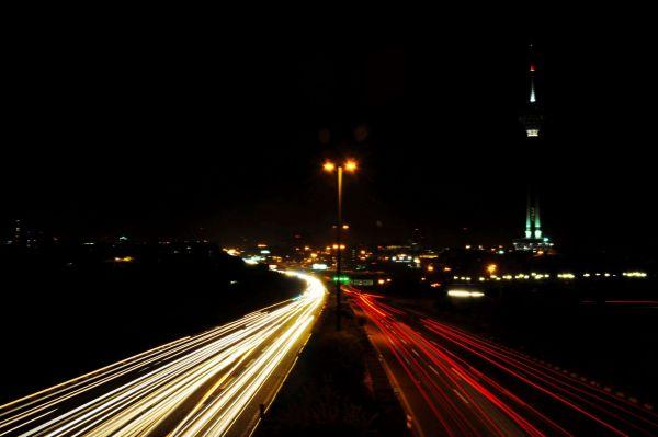 night lights tehran highway