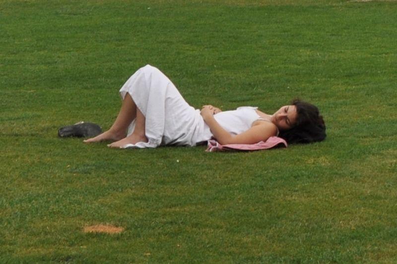 perfect woman grass green