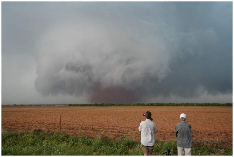 Tornado with red dust cloud