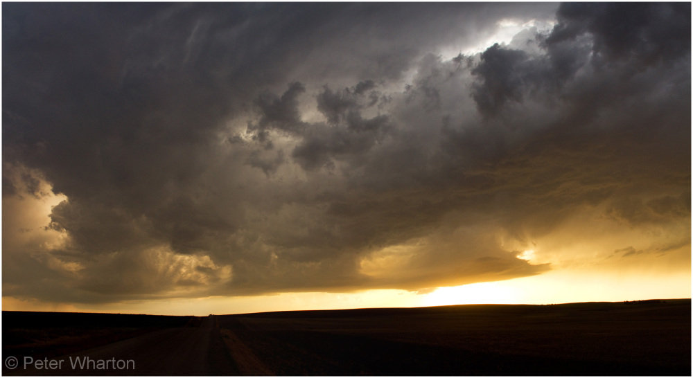 Sunset under thunderstorms near Sterling, Colorado