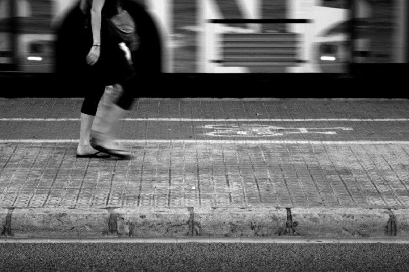 city girl bus street day walk walking